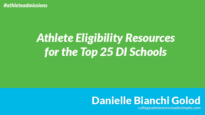 NCAA Eligibility Offices for the Top 25 Division I Schools